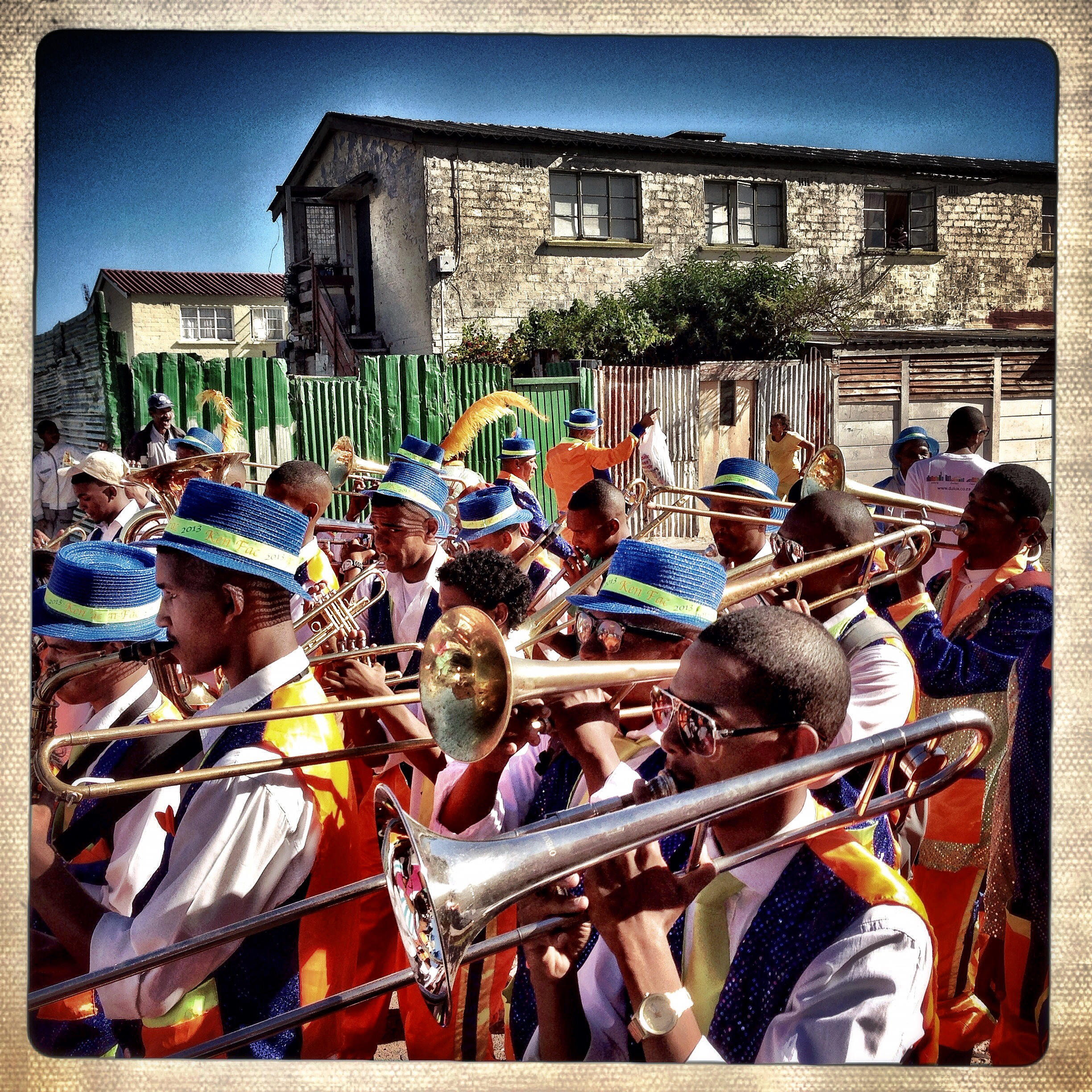 The Ken Fac troupe, from Kensington, marched through the streets of Parkwood before attending the final completion of the 2013 Minstrel Carnival in Athlone, Cape Town, South Africa.  @charlieshoemaker
