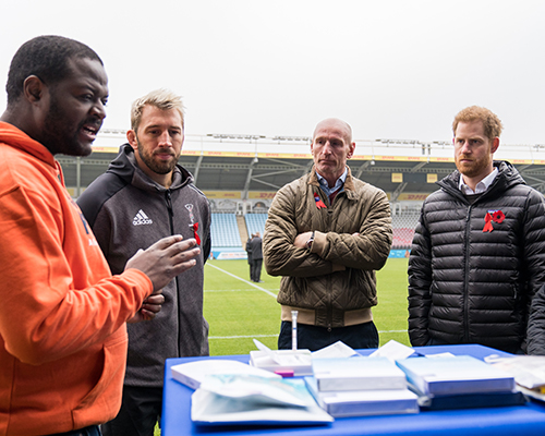 Takudzwa interviewing Prince Harry, Gareth Thomas, Chris Robshaw, and Ian Green. Credit: Terrence Higgins Trust