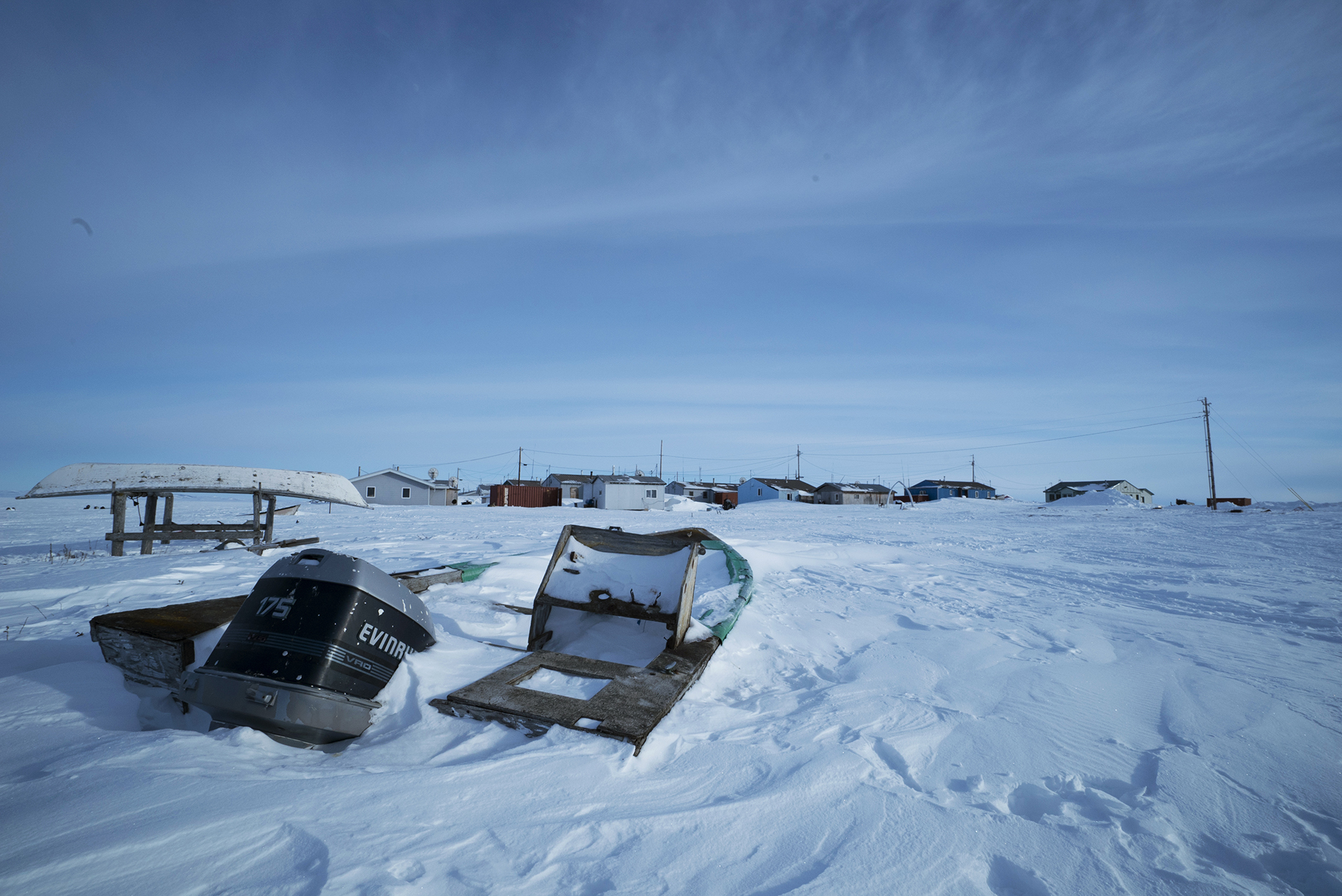 Boats buried in the snow on Kivalina. (Hans Glick/Global Citizen)