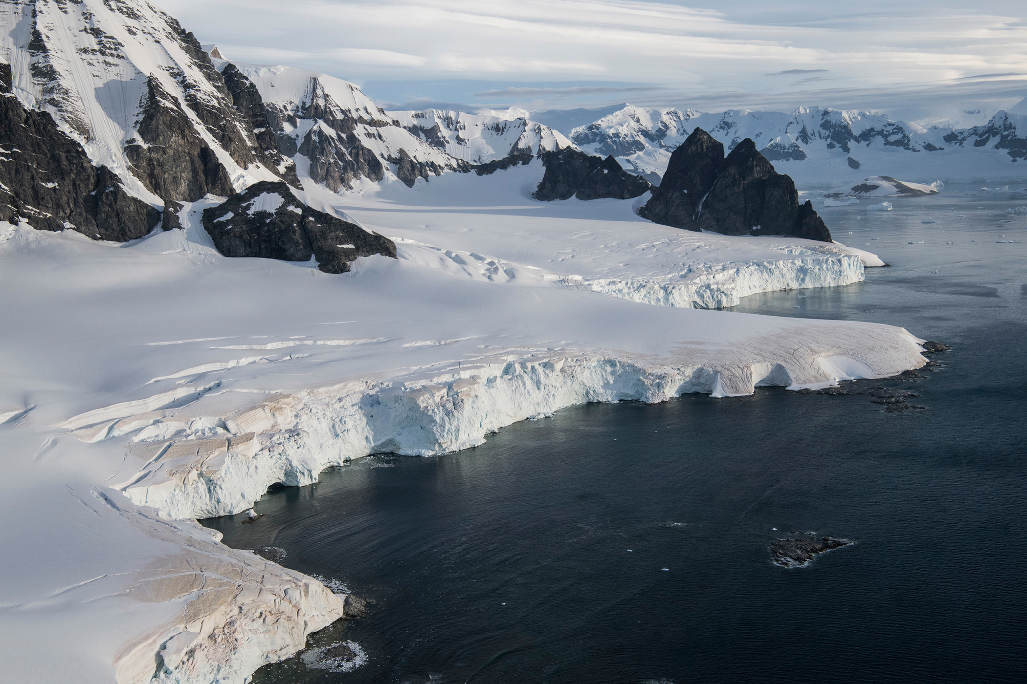 Aerial image of Errera channel, Antarctic Peninsula.