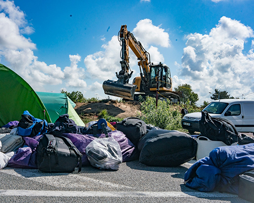 An eviction of an informal camp in Calais. Credit: Choose Love