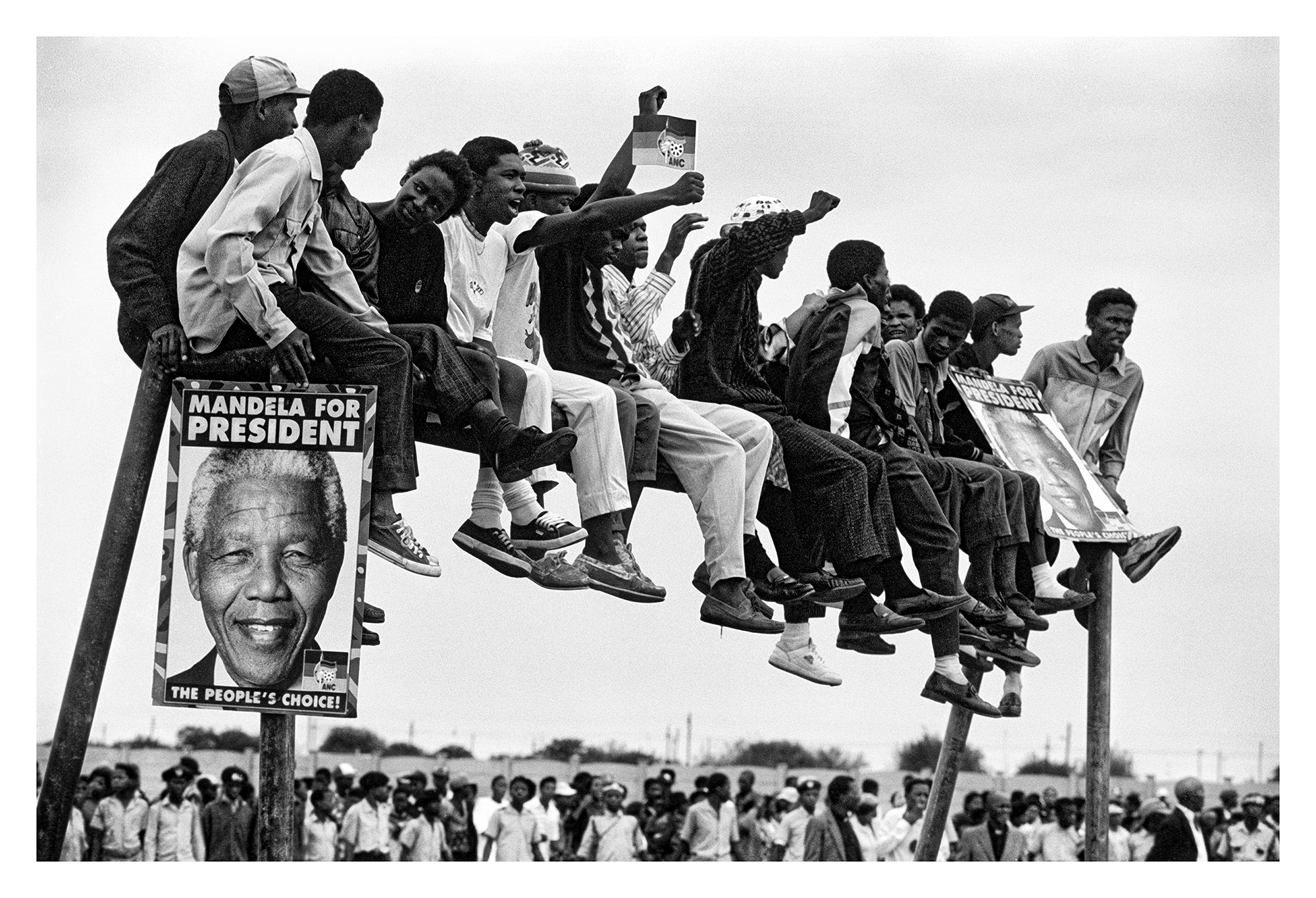 Crowds as Mandela campaigns near Soweto before the ANC's first election to power in 1994.