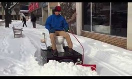 Video: Store owner takes a toilet to the streets to help plow the snow