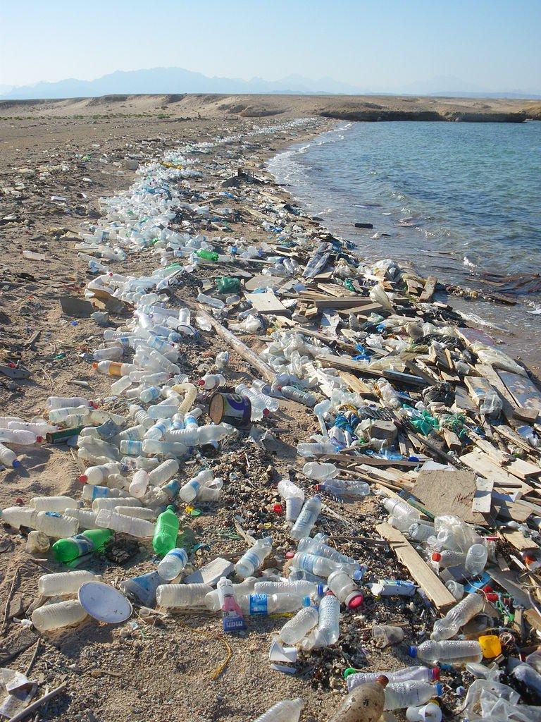 Verschmutzter Strand in Sharm el-Naga, Ägypten