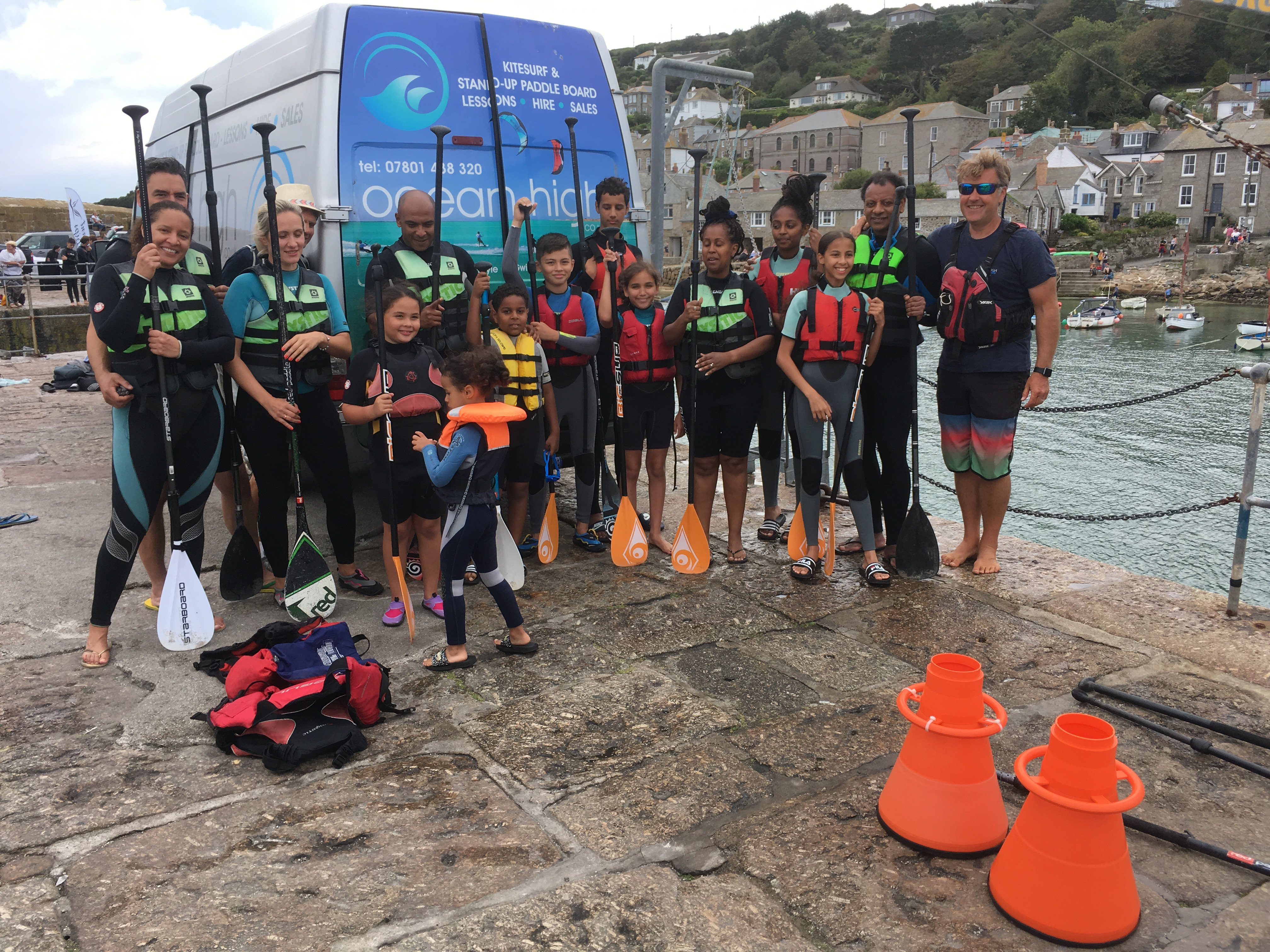 Grenfell guests before paddleboarding - photo Cornwall Hugs Grenfell.JPG