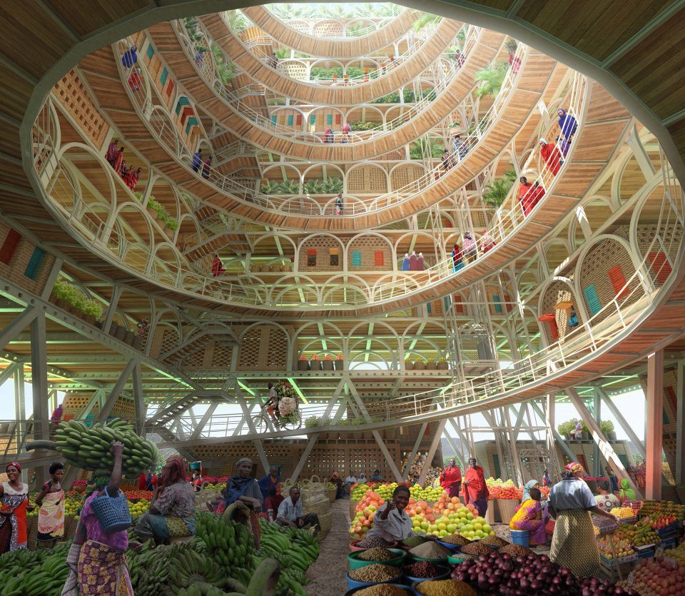 Artist's design of the inside of the Mashambas Skyscraper, with a fruit and veg market on the floor, and spiralled layers rising up above.