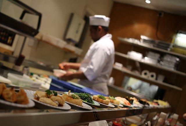 chef in sushi restaurant in london