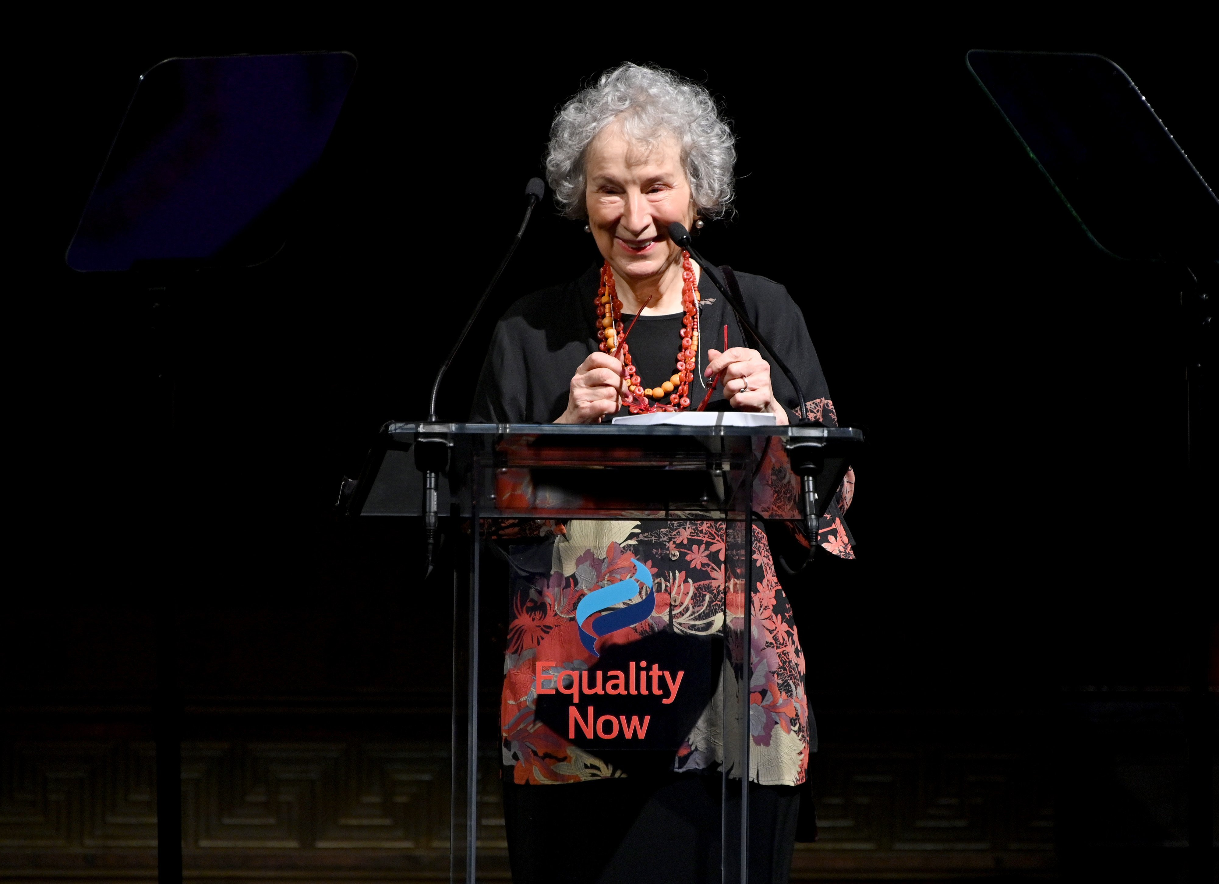 Margaret Atwood speaks on stage during the annual Make Equality Reality Gala hosted by Equality Now. Photo by Dia Dipasupil Getty Images.jpg