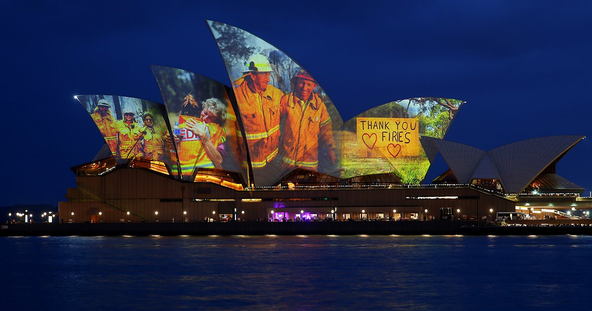 The Sydney Opera House Lights Up For Bushfire Relief