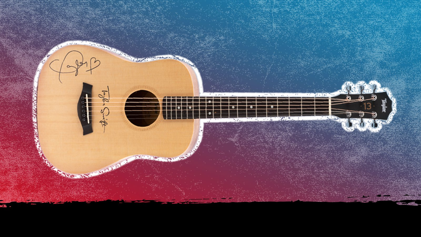 Guitar signed by Taylor Swift