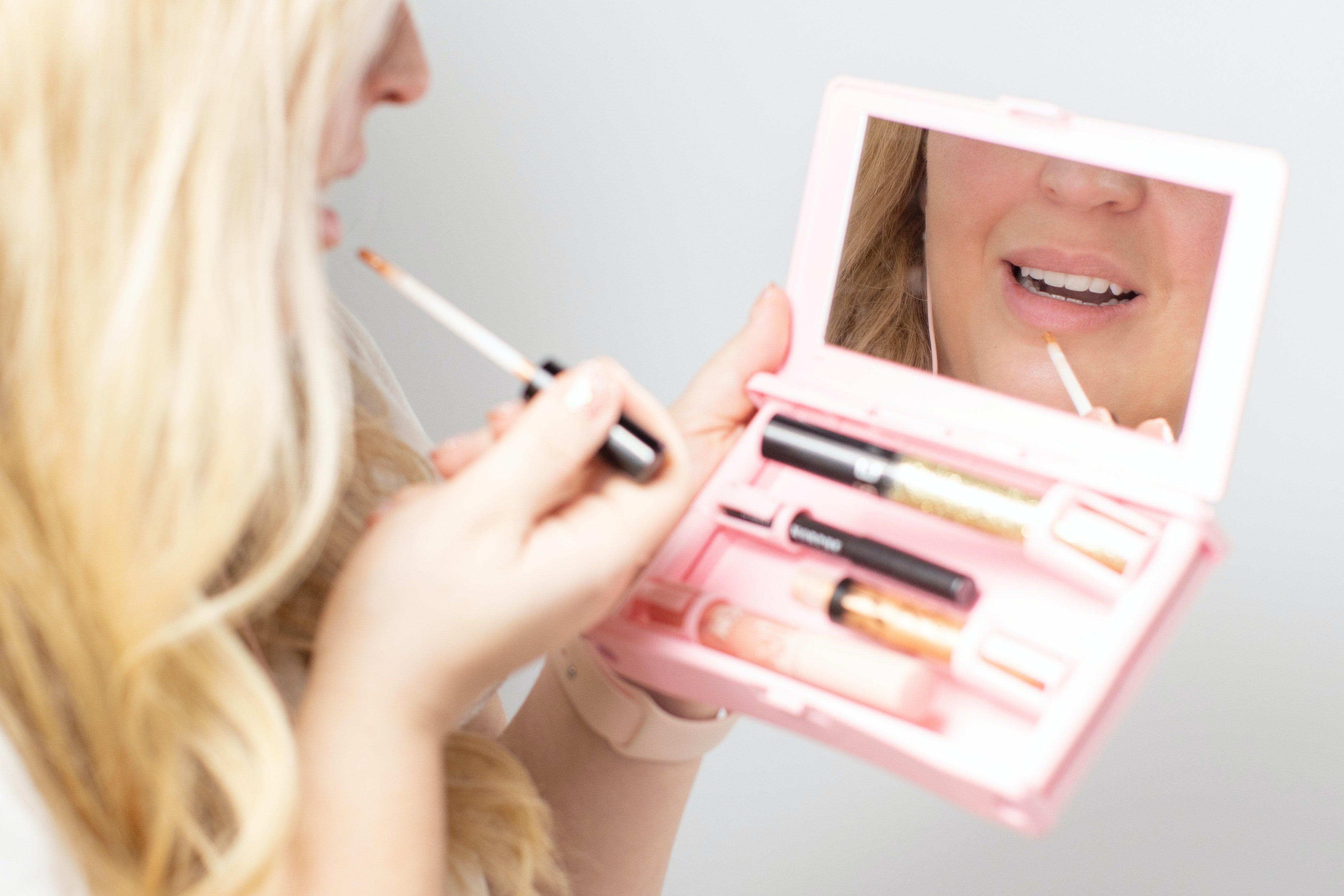 Person applying makeup