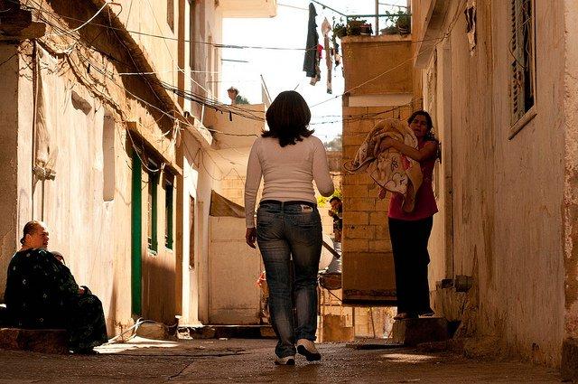 woman walking in Beirut