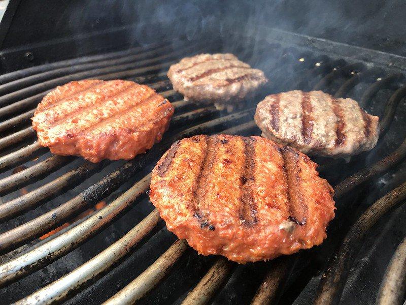 Beyond burger on grill
