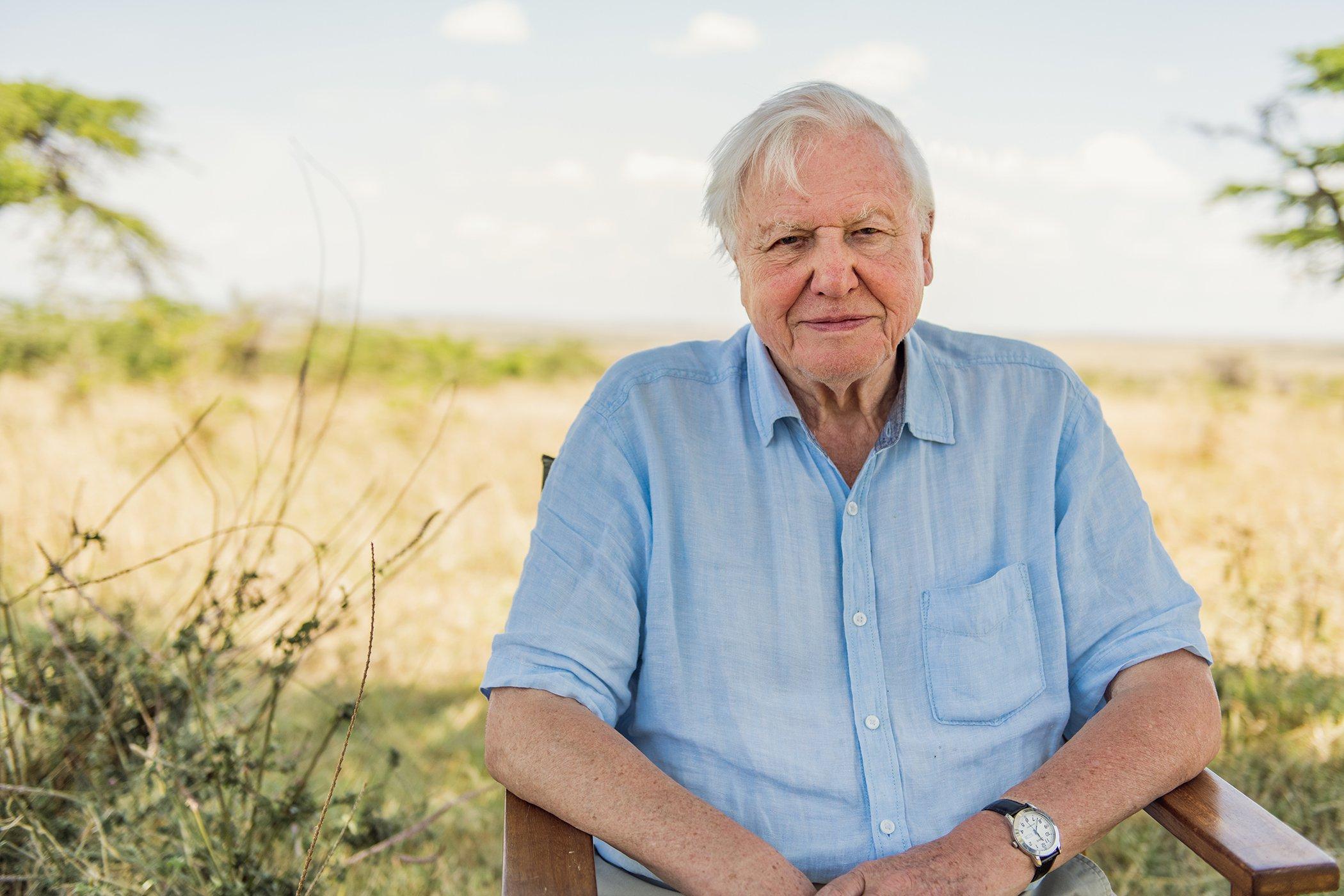 Sir David Attenborough pictured in the Maasai Mara, Kenya..jpg