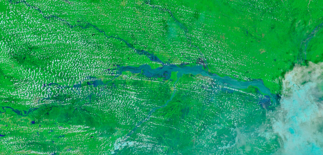 Satellite view of Ganges River in India