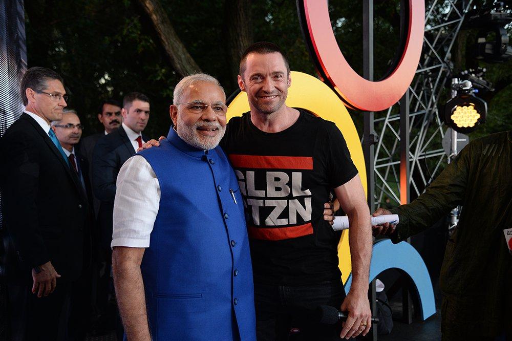Prime Minister Narendra Modi Hugh Jackman GCF 2014 Kevin Mazur.jpg