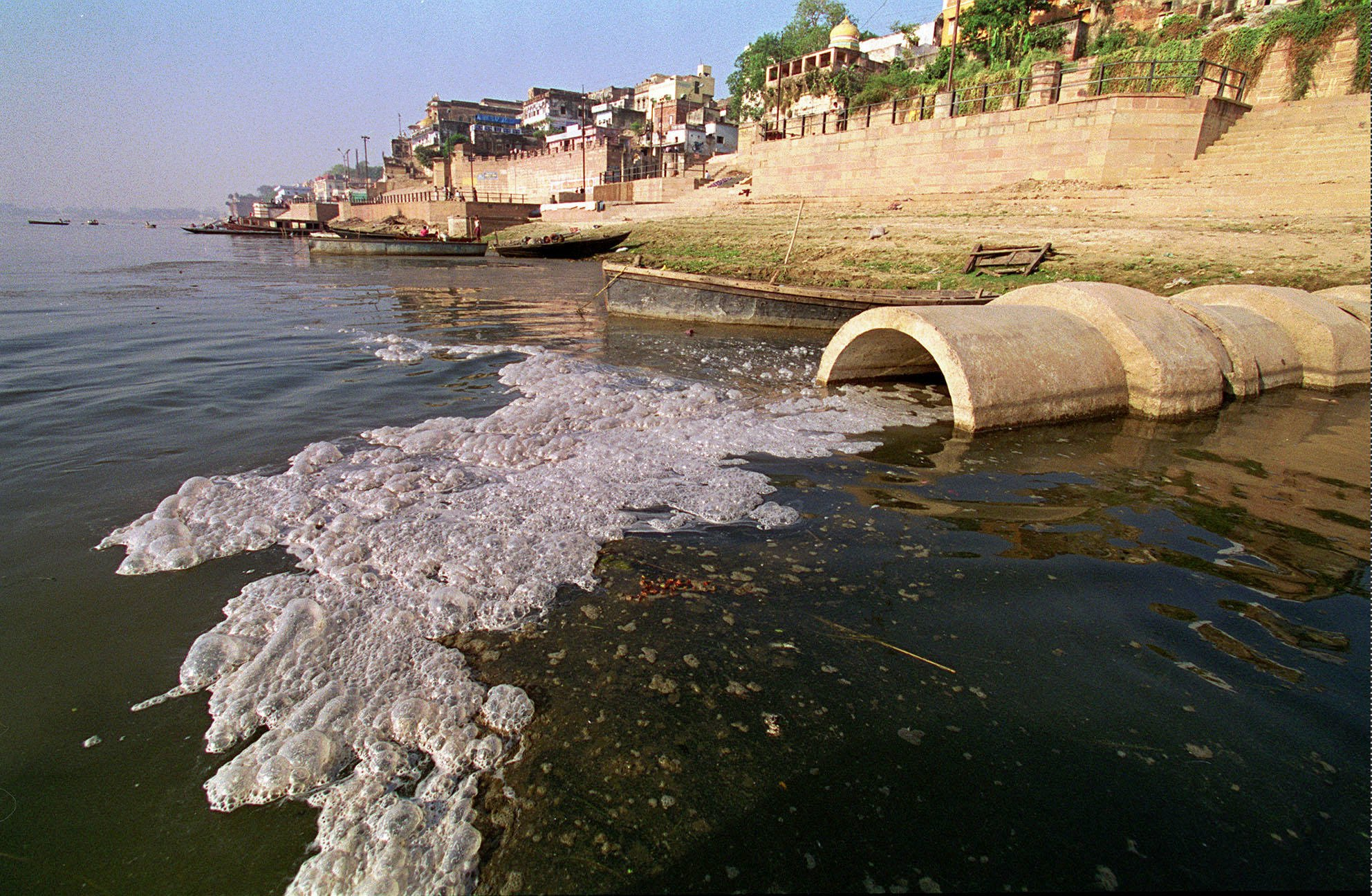 Ganges River in India, raw sewage