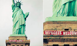 Article: Activists Unfurl 'Refugees Welcome' Banner Across Statue of Liberty
