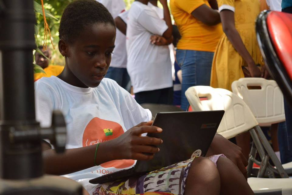 Ghana girl learning to code,  barriers to girls' education