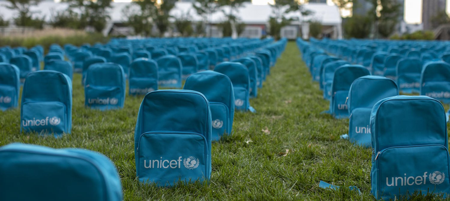 3,758 Backpacks Were Placed in Front of the UN to Call for the Protection of Children in Conflict