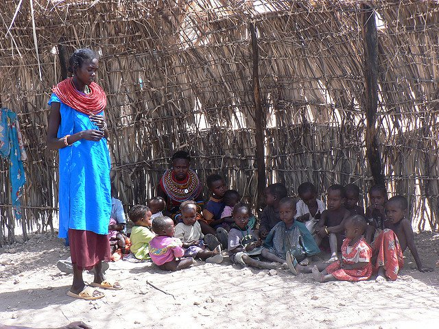 woman and children in Kenya
