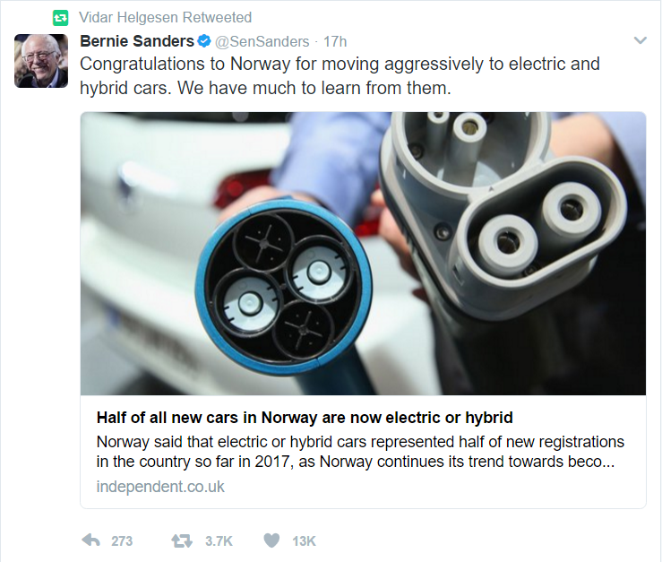 Bernie Sanders Retweet Norway Environment