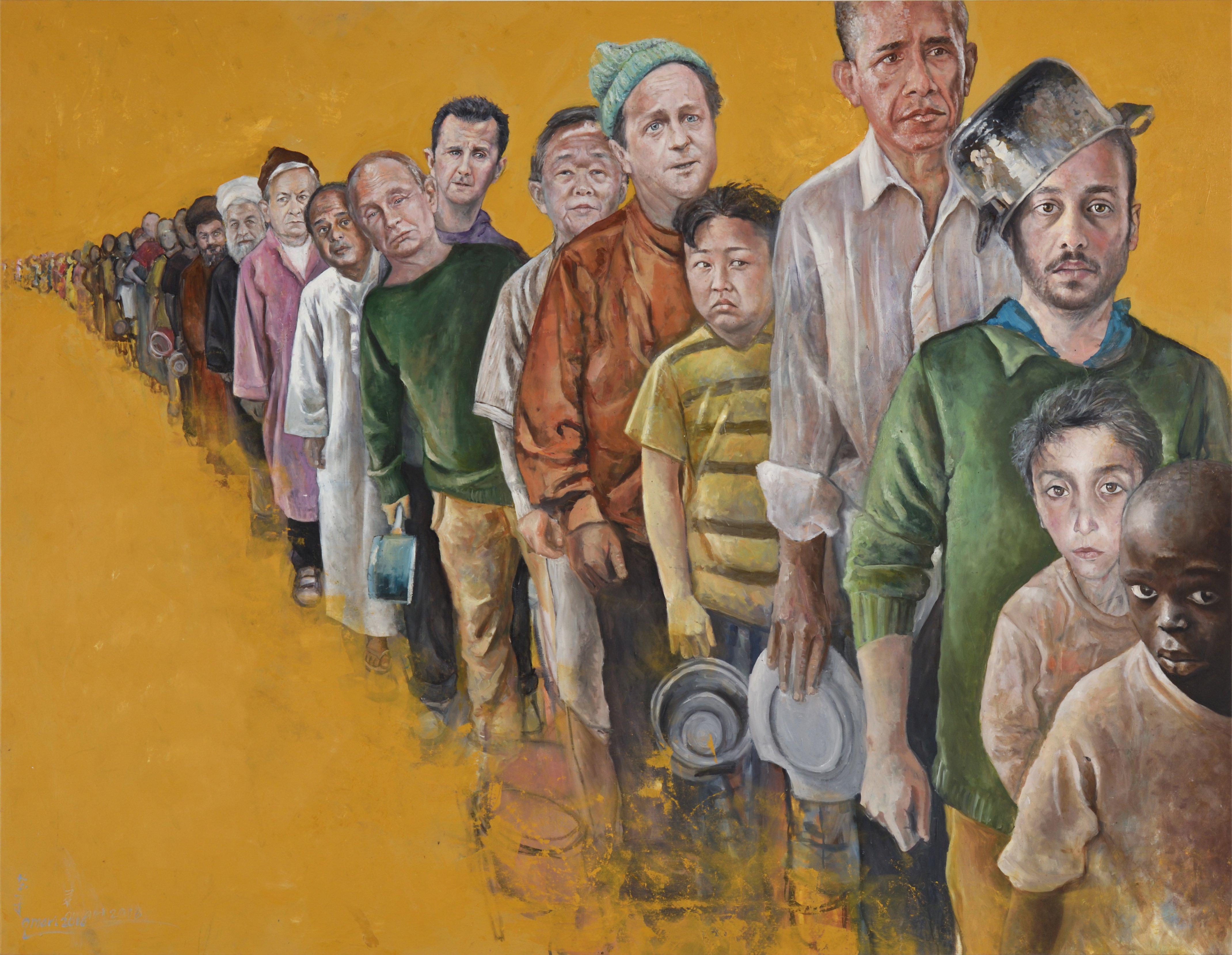 AO20 Abdalla Al Omari 'The Queue' 160 x 207 cm Oil and acrylic on canvas 2016.jpg
