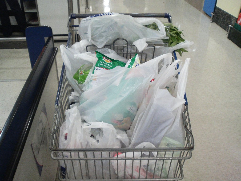 Plastic Bags Shopping cart