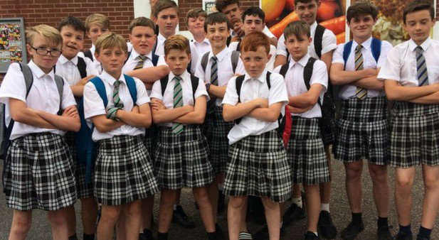 Teenage Boys Wear Skirts to School in Protest for Equal Rights