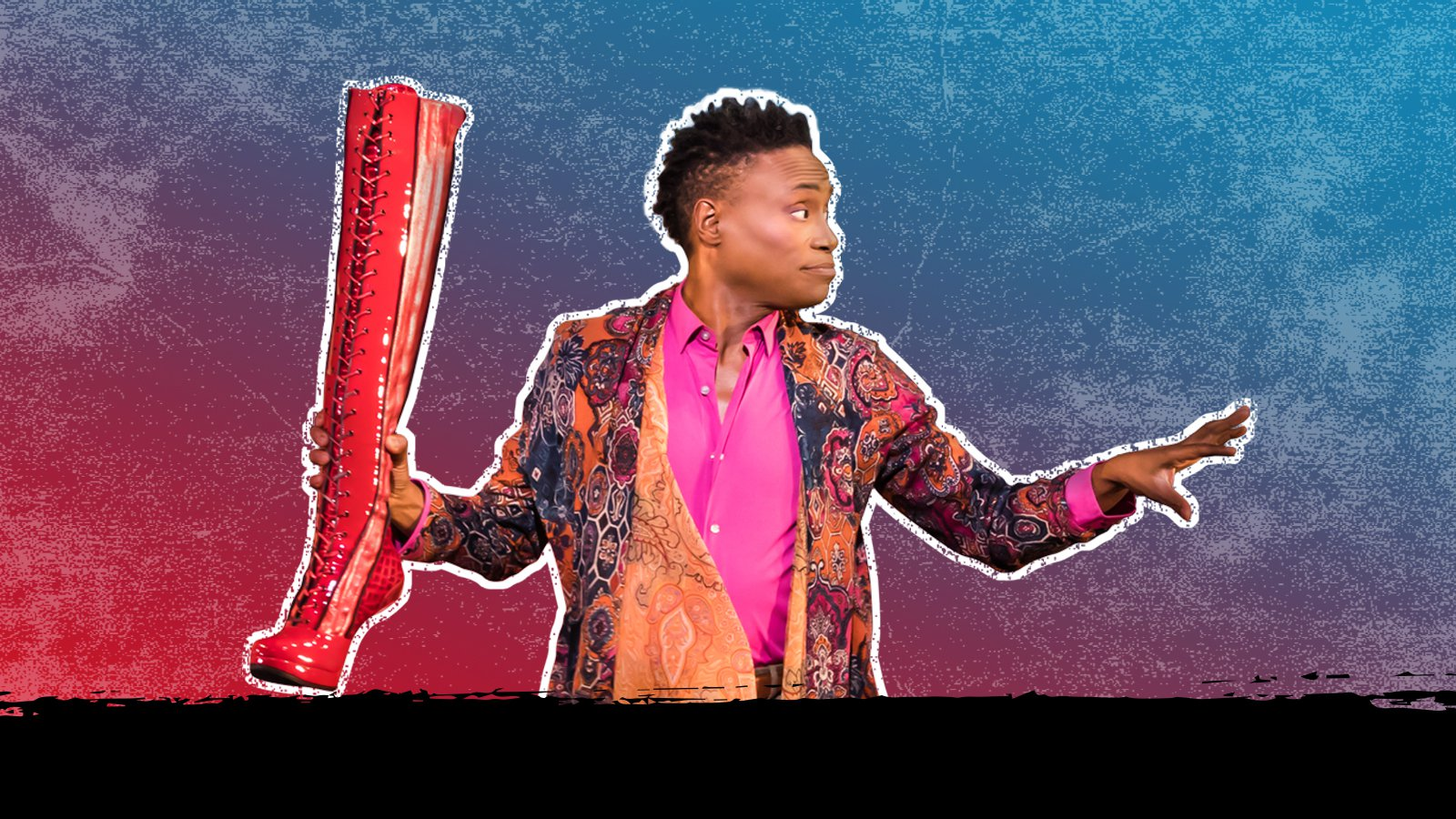 Billy Porter holding boot from Kinky Boots